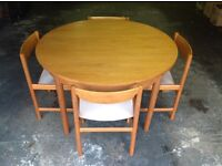 Teak 60's-70's Dining table and Four chairs, G-Plan style.