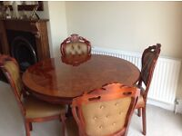Italian Tortoise shell table and 4 free chair