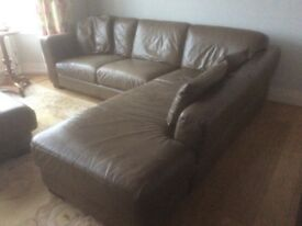 Italian soft leather corner sofa in copper brown with chaise langue. Bought from Maskreys, Cardiff.