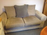 Brown Sofa bed with sturdy bed base & sprung mattress-hardly used. Sofa 6'x3' & bed double size.