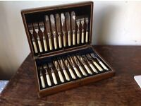 Antique cutlery fish knives and forks in wooden display box