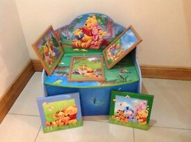 Winnie the Pooh toy box and pictures