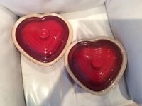 2 LIMITED EDITION LE CREUSET LOVEHEART OVEN DISHES - ideal for engagement, wedding, Valentine's
