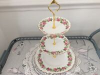 Colclough Bone China 3 Tier Cake Stand. Pink & Green Floral