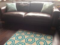 Brown leather 3 seater sofa and one chair