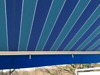 Blue striped awning