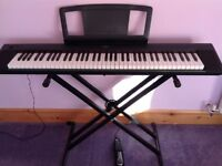 Practically New Keyboard! Yamaha Piaggero NP-31 with Cover, Pedal, Stand and Midi USB Cable