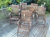 Set of 6 Outdoor Wooden Garden Recliner Chairs Sturdy