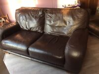 Free leather suite brown, two seater, three seater and pouffe