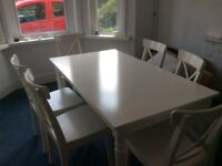 Ikea white dining table & 6 chairs