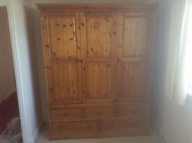 Pine wardrobe, solid pine in excellent condition, buyer to collect, tell 07870321101 East Goscote.