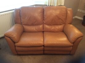 Maxdivani Recliner 2 Seater Leather Sofa. Colour - Tan, and in good condition