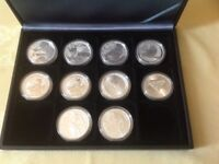 COLLECTION OF TEN SILVER ONE OUNCE COINS FROM VARIOUS MINTS AND LIMITED EDITIONS