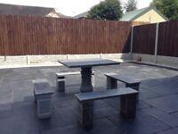 Garden Granite table & 4 benches set