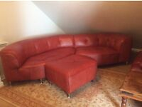 Curved Leather Sofa, suitable for conservatory, excellent condition with footstool