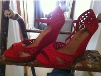 Brand new Red wedges, size 6