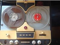 VINTAGE BUSH TP50 4 TRACK VALVE REEL TO REEL TAPE RECORDER PLAYER PLUS MIC. One owner since new.
