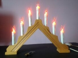 Christmas Decoration Candlestick with 7 flickering bulbs, Large type.
