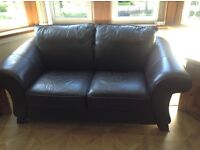 Reids Chocolate brown leather 3 seater and 2 seater couch