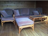Conservitery furniture , 3 sweater sofa, 2side chairs 1 foot stool and 1glass topped table