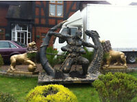 LIFE SIZE SCULPTURE OF CHINESE WARRIOR FIGHTING A DRAGON
