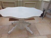Painted vintage fluted edge pedistool coffee table