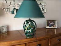 Very large Table Lamp, green leaf design metal with matching shade