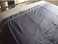 dorma king size quilt cover + 2 pillowcases navy white polka dot n stripes reversible 100% cotton