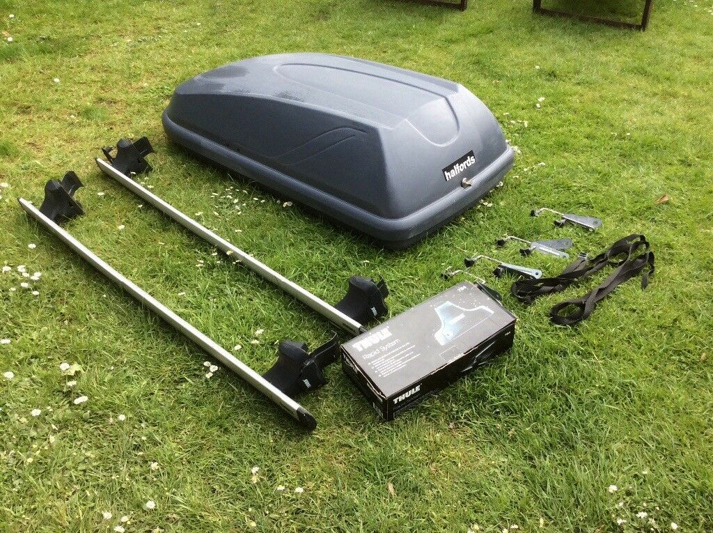 halfords 250l roof box with thule roof bars and thule 754. Black Bedroom Furniture Sets. Home Design Ideas