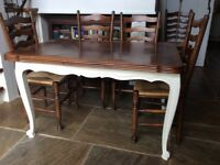 French Oak Dining Table, mid 20th C, with two leaves. 130 cm x 90 cm. Extends to 230cm x 90 cm.