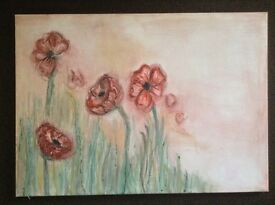 A2 Floral canvas, hand painted with water colour and acrylic paints, remembrance day poppies painted