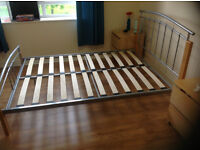 Double Bed Frame, sturdy wood and metal