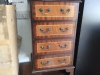 4 drawer chest mahogany with detail good condition 18 inch wide 16 inch deep 31 inch high, check my