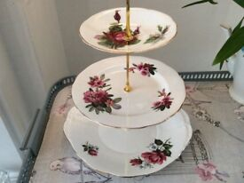 Bone China 3 Tier Cake Stand. Pink / Red Floral.