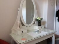 Dressing Table with fixed Mirror and folding stool.