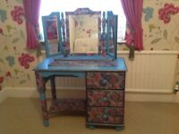 Dressing Table and triple mirror with decoupage finish