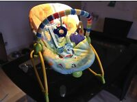 Kids 2 baby seat/rocker. Vibrating option, static or rocking option. 2 position seat.