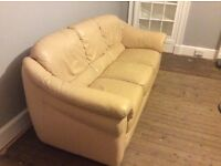 **FREE TO COLLECT*** 3 seater cream leather sofa
