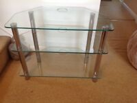 Glass and chrome television table