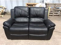 Black Leather 2 Seat Recliner Sofa - Ex Display - £199 Including Free Local Delivery