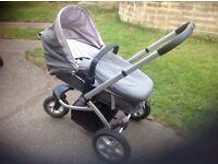 MOTHERCARE MY3 Pram Pushchair Newborn onwards Grey Sturdy smooth manoeuvre 3 Wheels