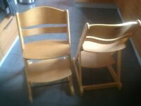 Wooden high chairs.