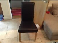 4 faux leather dark brown dinning chairs £40