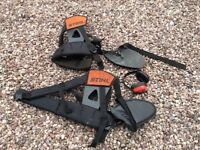 2 stihl strimmer harnesses and earmuffs
