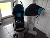 Graco mojo pushchair stroller NEW black blue with raincover apron boxed