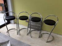 4 x black and chrome bar stools