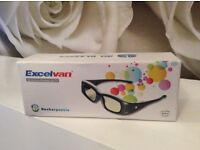 3D tv glasses brand new boxed with charger 2 sets excel van make