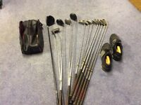 Set of golf clubs suit beginner. Also golf shoes