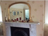 Fireplace mirror with gold frame