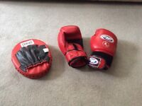 Boxing gloves and pad used but in good condition